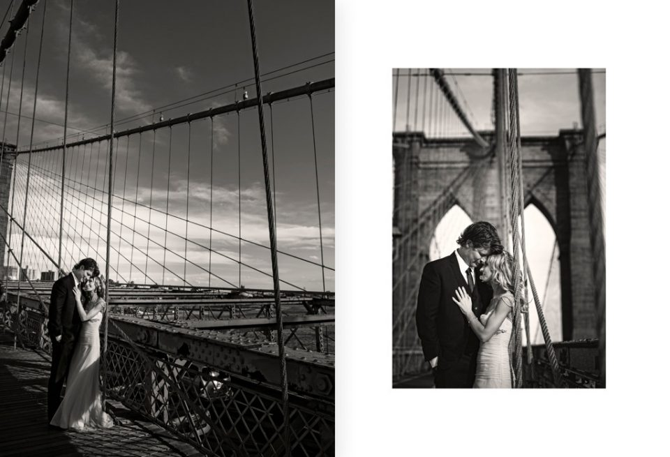 Two black and white images of bride and groom posing for photos on the Brooklyn Bridge in New York for their destination wedding