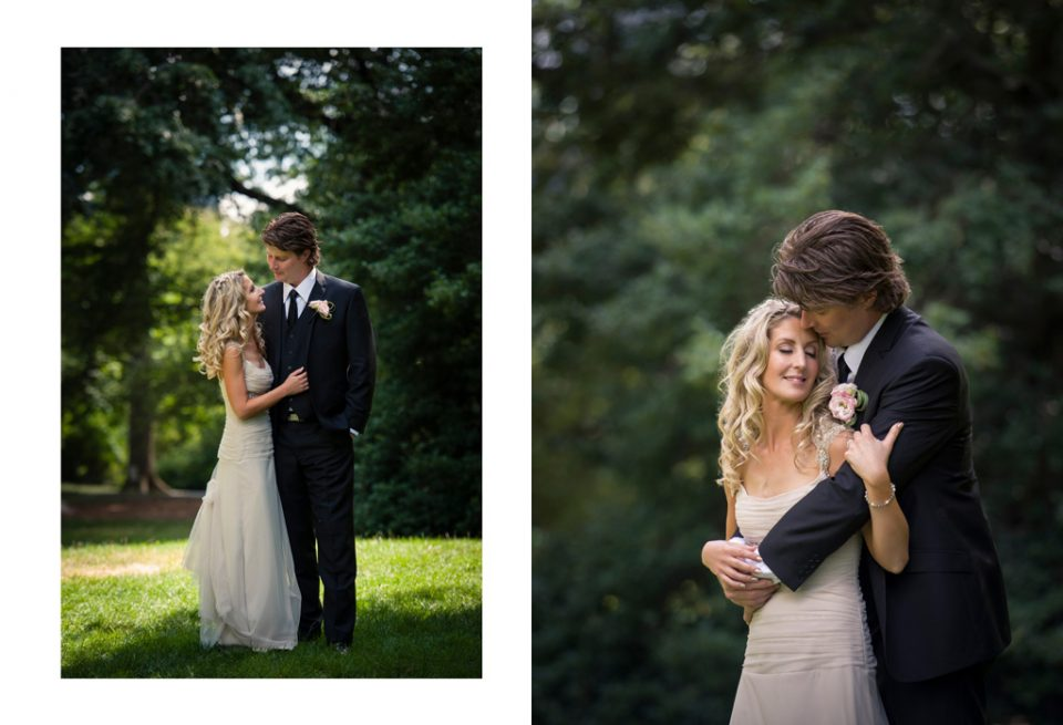 Two photos side by side, one full length, the other three quarter of a couple embracing on at their destination wedding, in Central Park New York