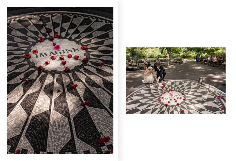 bride and groom pay respects by laying a flower at the Imagine Circle, strawberry Fields in Central Park New York on their wedding day