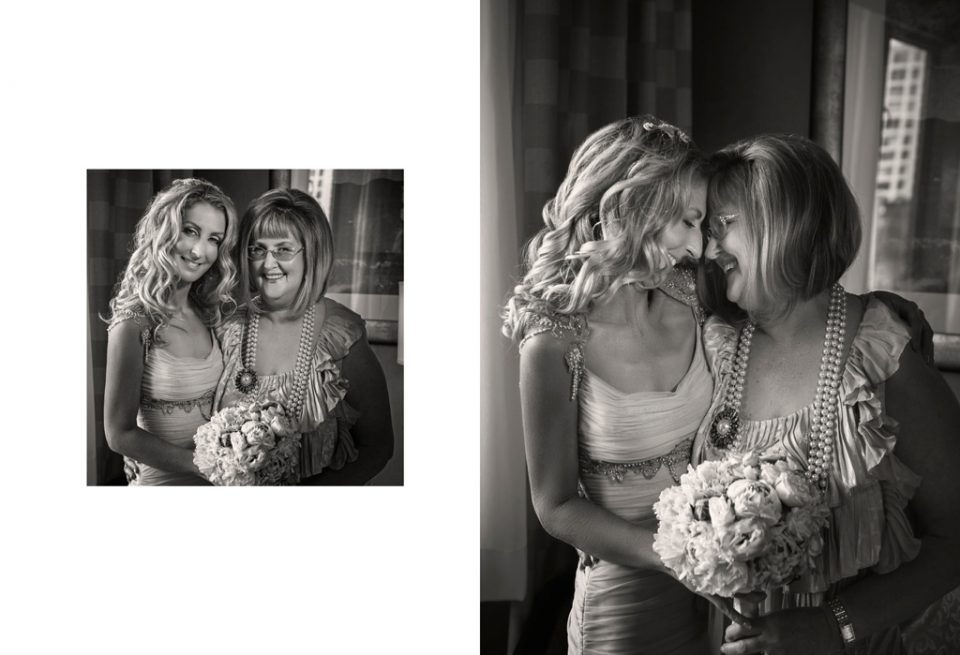Mother of the bride with bride, in new York smiling for her daughters destination wedding