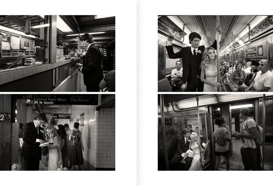 Wedding album page layout of four black & white images. Sequence of the couple buying tickets, looking at directions, riding on the New York subway