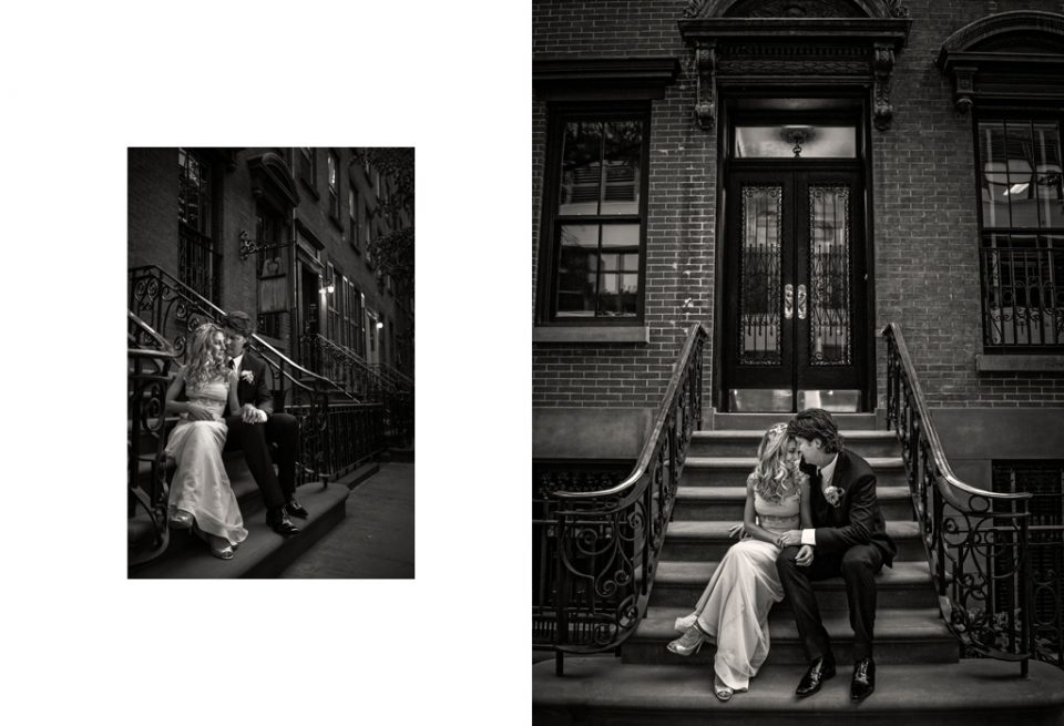 Two black and white photos of bride and groom sitting on stairs of a traditional New York brown stone property for their destination wedding