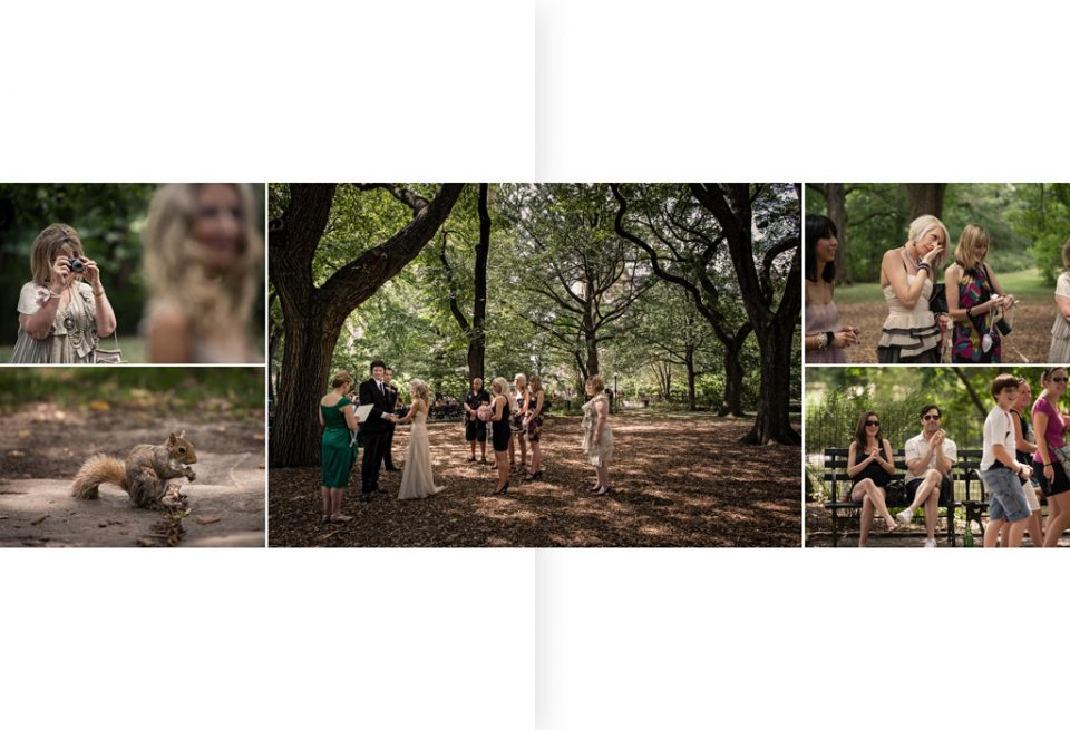 Layout of five photos for wedding album. Variety of images, of small wedding in central park new York, for a destination wedding