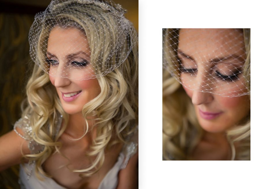 Two portraits of the bride, side by side, looking out the window. Wearing a Gwendolynne gown and fascinator for her New York destination wedding
