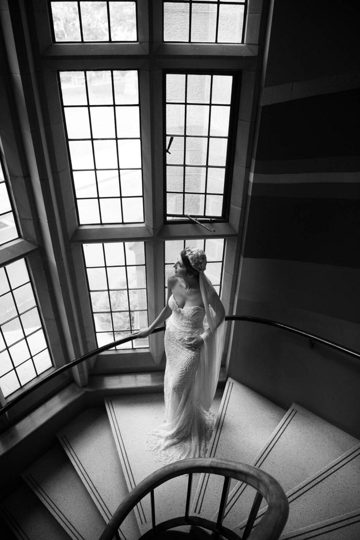 bride on stair case at sydney university
