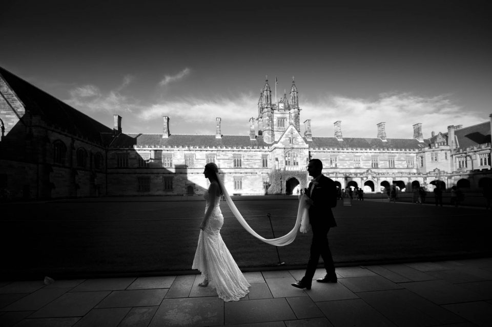 black and white photo of bride and groom at sydney uni